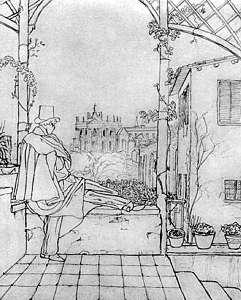 Н.В. Гоголь на террасе виллы З.А. Волконской в Риме. Рисунок В.А. Жуковского. 3 февраля (22 января) 1839 г.